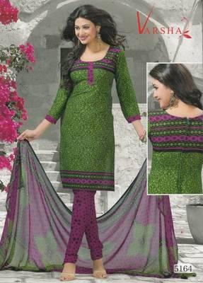 Crepe dress material elegant designer unstitched salwar suit d.no 5164