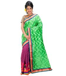 Buy PINK and GREEN woven chanderi saree with blouse chanderi-saree online