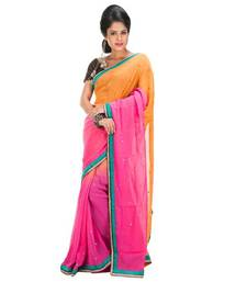 Buy ORANGE and PINK embroidered viscose saree with blouse georgette-saree online