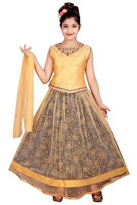 NAVY NET FLORAL PRINT LEHENGA WITH GOLDEN EMBROIDERED CHOLI AND NET DUPATTA