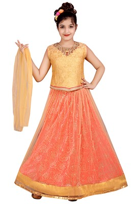 LIGHT ORANGE NET FLORAL PRINT LEHENGA WITH GOLDEN EMBROIDERED CHOLI AND NET DUPATTA
