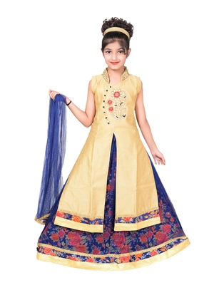 BLUE AND RED NET FLORAL PRINT LEHENGA WITH GOLDEN EMBROIDERED LONG CHOLI AND NET DUPATTA