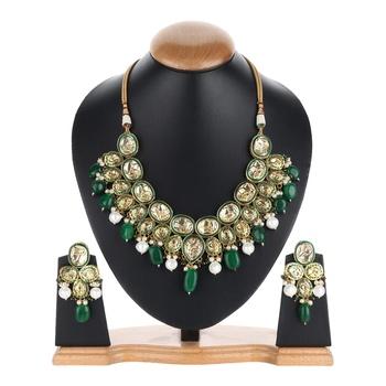 Designer Wedding Green kundan necklace-sets
