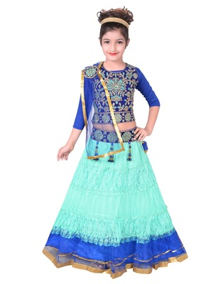 SEA BLUE NET FLARED LEHENGA WITH BLUE EMBROIDERED CHOLI AND ATTACHED NET DUPATTA
