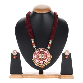 maroon meenakari Gold agate necklace-sets