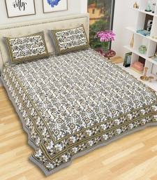 Grey Cotton Hand Printed King Size Bedsheet with 2 Pillow Covers