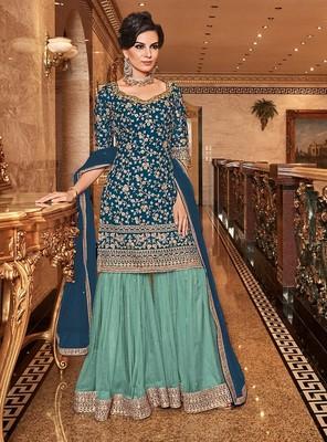 Teal-blue embroidered net salwar