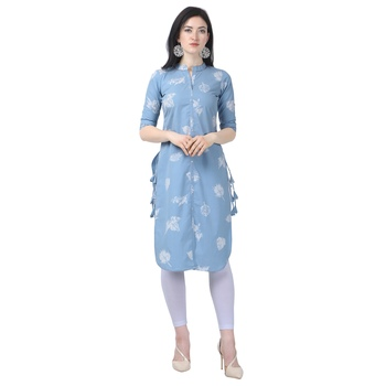 Sky-blue embroidered cotton long-kurtis