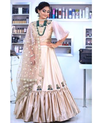 Golden Satin Wedding Wear Sider Lehenga Choli