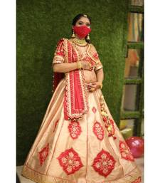 Red With Golden Raw Silk Baby Shower Bridle Lehenga Choli Dress