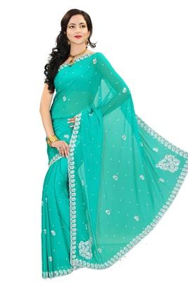 Pastel hand work chiffon saree with blouse