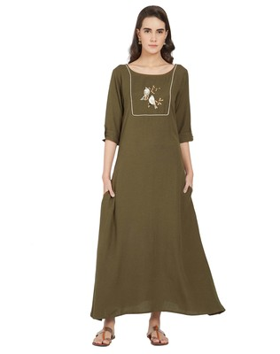 Green printed linen kurtas-and-kurtis