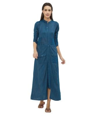 Blue printed rayon kurtas-and-kurtis