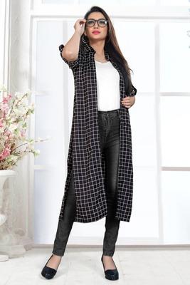 Black printed crepe long-tops
