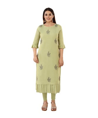 Light-green embroidered art silk embroidered-kurtis