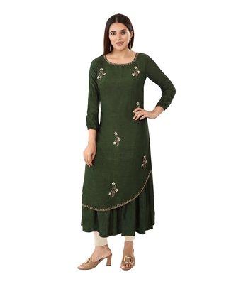Dark-green embroidered silk embroidered-kurtis