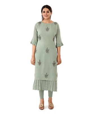 Grey embroidered art silk embroidered-kurtis