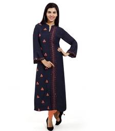 Navy-blue embroidered art silk embroidered-kurtis