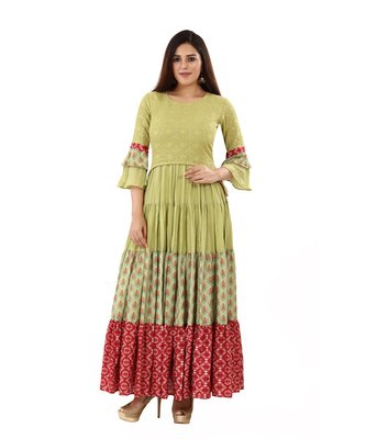 Light-green embroidered cotton embroidered-kurtis