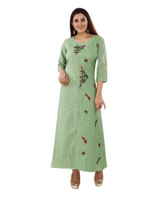 Light-sea-green embroidered cotton embroidered-kurtis