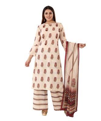 Beige embroidered cotton embroidered-kurtis