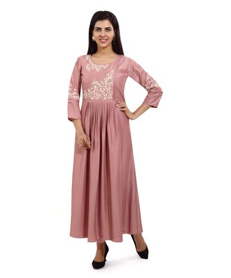 Wine embroidered cotton embroidered-kurtis