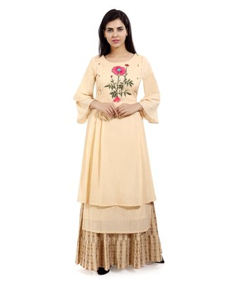 Beige embroidered cotton embroidered-kurtis