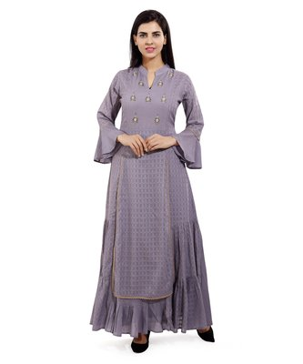 Grey embroidered cotton embroidered-kurtis