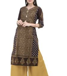 BROWN HAND BLOCK PRINTED COTTON STRAIGHT KURTI
