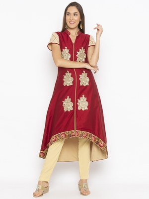 Maroon embroidered cotton silk party-wear-kurtis
