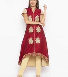Maroon embroidered cotton silk party-wear-kurtis