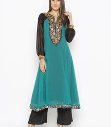 Teal-green embroidered georgette party-wear-kurtis