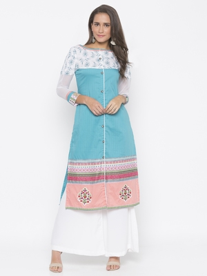 Blue embroidered cotton party-wear-kurtis