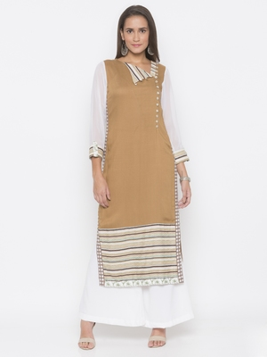 Brown printed cotton party-wear-kurtis
