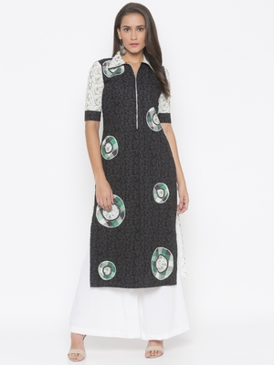 Black embroidered cotton party-wear-kurtis