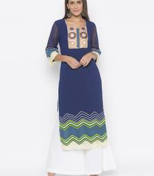 Navy-blue embroidered crepe party-wear-kurtis