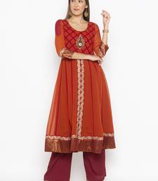 Copper embroidered georgette party-wear-kurtis