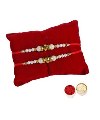 Beautiful Dhaga Rakhi Set with Roli Tika for Brother (2 Rakhi)