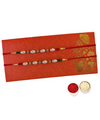 Beautiful Rakhi Set of Pearl and Beads with Roli Tika for Brother (2 Rakhi)