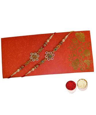 Beautiful Designer Rakhi Set with Pearl and Kundan Work alongwith Roli Tika for Brother (2 Rakhi)