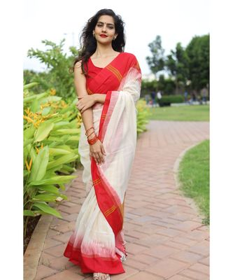 Classic khadi cotton saree in bengali style with white body & red border saree