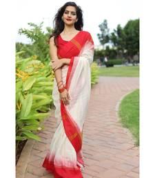 Classic khadi cotton saree in bengali style with white body & red border saree