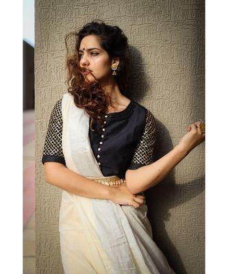 Stunning khadi slub cotton saree with silver threadwork border