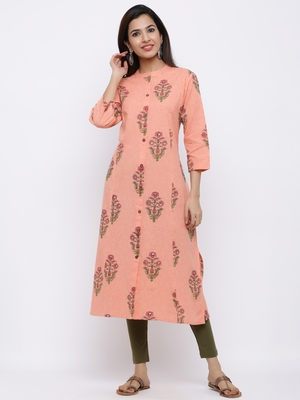 Women's  Peach Cotton Floral Print A-line Kurta