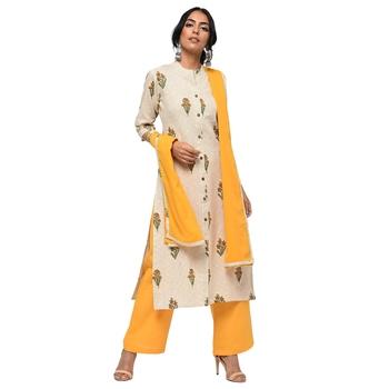 Women's Yellow  Cotton Flex Floral Print Straight Kurta, Palazzo & Dupatta Set