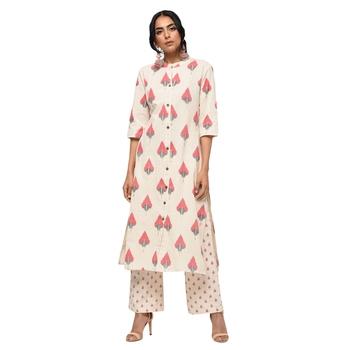 Women's Maroon  Cotton Flex Ikat Printed Straight Kurta & Palazzo Set