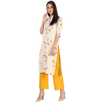 Women's Mustard  Cotton Flex Floral Print Straight Kurta & Palazzo Set