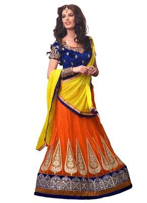 Orange Coloured Dupion Silk Zari work Lehenga Choli With Dupatta