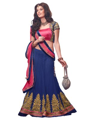 Blue Coloured Georgette Zari work Lehenga Choli With Dupatta
