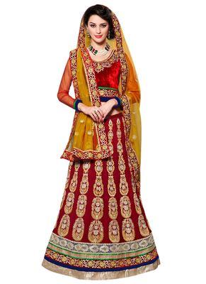 Maroon Coloured Georgette Embroidered Lehenga Choli With Dupatta